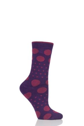 Ladies 1 Pair Thought Paolini Spots and Dots Bamboo and Organic Cotton Socks Plum One Size