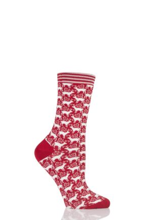 Ladies 1 Pair Thought Dasher Reindeer Bamboo and Organic Cotton Socks
