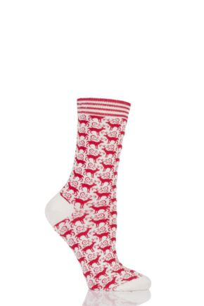 Ladies 1 Pair Braintree Dasher Reindeer Bamboo and Organic Cotton Socks Snow One Size