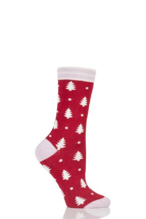 Ladies 1 Pair Braintree Nootka Christmas Tree Bamboo and Organic Cotton Socks Cranberry One Size