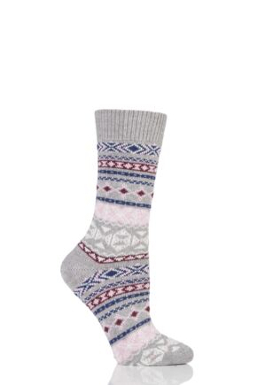 Ladies 1 Pair Braintree Nera Fairisle Organic Cotton and Wool Socks Grey One Size