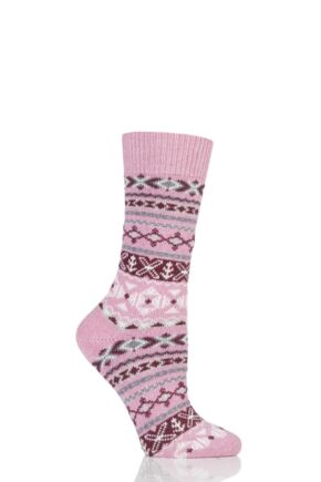 Ladies 1 Pair Thought Nera Fairisle Organic Cotton and Wool Socks Rose One Size