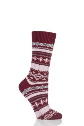 Ladies 1 Pair Thought Nera Fairisle Organic Cotton and Wool Socks