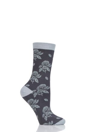 Ladies 1 Pair Thought Flora Flowers Bamboo and Organic Cotton Socks Charcoal 4-7 Ladies