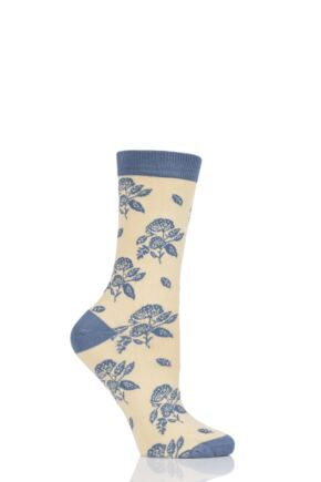 Ladies 1 Pair Thought Flora Flowers Bamboo and Organic Cotton Socks Maize 4-7 Ladies