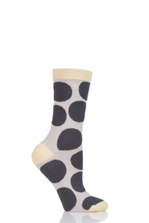 Ladies 1 Pair Thought Luna Large Dots Bamboo and Organic Cotton Socks Charcoal 4-7 Ladies