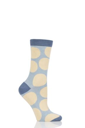 Ladies 1 Pair Thought Luna Large Dots Bamboo and Organic Cotton Socks Maize 4-7 Ladies