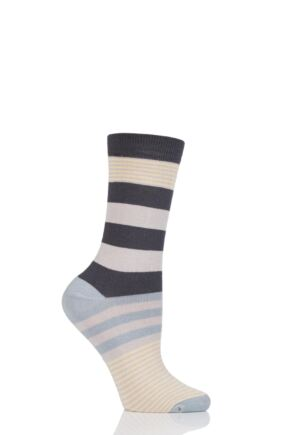Ladies 1 Pair Thought Britta Block Stripe Bamboo and Organic Cotton Socks