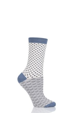 Ladies 1 Pair Thought Wren Small Dots Bamboo and Organic Cotton Socks Lilly White 4-7 Ladies