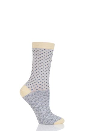 Ladies 1 Pair Thought Wren Small Dots Bamboo and Organic Cotton Socks Stone 4-7 Ladies