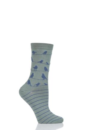 Ladies 1 Pair Thought Birdie Birds on a Line Bamboo and Organic Cotton Socks Sage 4-7 Ladies
