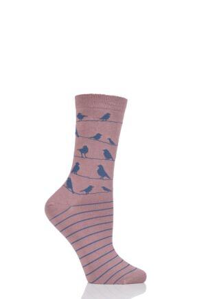 Ladies 1 Pair Braintree Birdie Birds on a Line Bamboo and Organic Cotton Socks