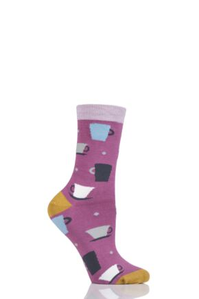 Ladies 1 Pair Thought Tova Tea Cup Bamboo Socks