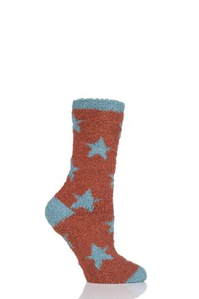 Ladies 1 Pair Thought Ulrika Fluffy Stars Recycled Polyester Socks Burnt Orange 4-7 Ladies