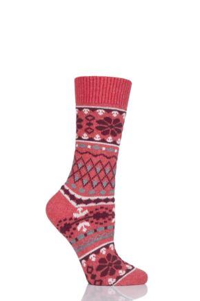 Ladies 1 Pair Thought Inga Fair Isle Organic Cotton and Wool Socks Raspberry 4-7 Ladies