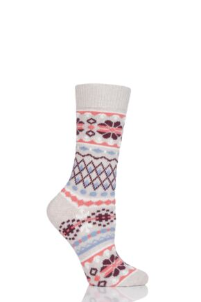 Ladies 1 Pair Thought Inga Fair Isle Organic Cotton and Wool Socks
