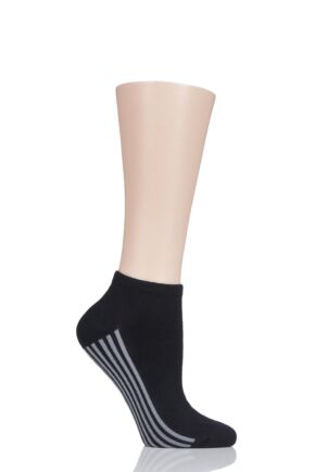Ladies 1 Pair Thought Solid Jane Bamboo and Organic Cotton Trainer Socks Black 4-7 Ladies