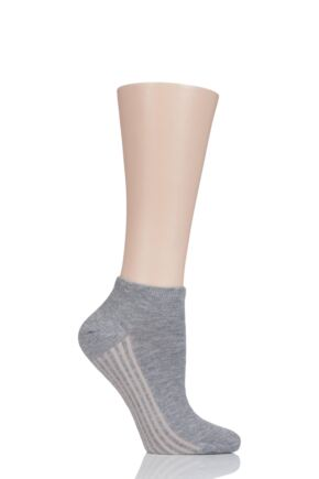 Ladies 1 Pair Thought Solid Jane Bamboo and Organic Cotton Trainer Socks Grey One Size