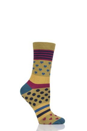 Ladies 1 Pair Thought Juliet Stripes Spots and Hearts Bamboo and Organic Cotton Socks Lichen 4-7