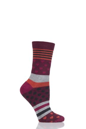 Ladies 1 Pair Thought Juliet Stripes Spots and Hearts Bamboo and Organic Cotton Socks Wine 4-7