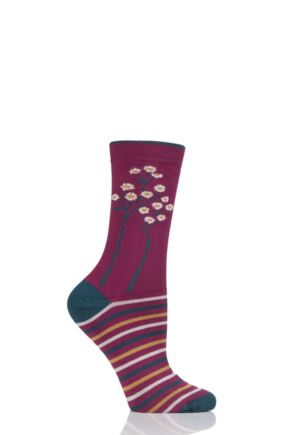 Ladies 1 Pair Thought Olivia Trees Bamboo and Organic Cotton Socks Cyclamen 4-7