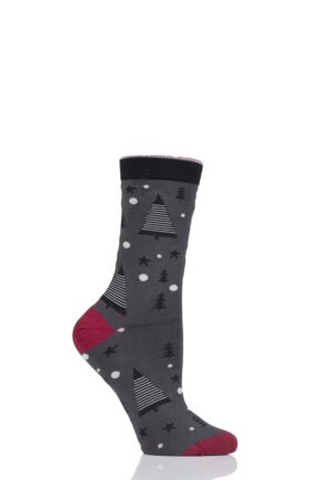 Ladies 1 Pair Thought Merry Christmas Tree Bamboo and Organic Cotton Socks Pewter 4-7