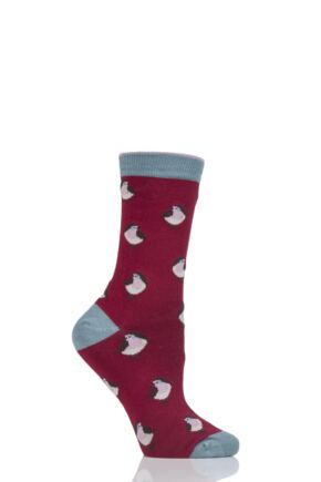 Ladies 1 Pair Thought Robin Bamboo and Organic Cotton Socks Cranberry 4-7