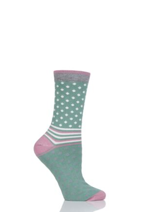 Ladies 1 Pair Thought Jarrel Dots and Stripes Bamboo and Organic Cotton Socks Field Green 4-7