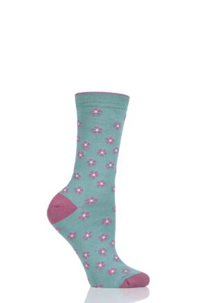 Ladies 1 Pair Thought Ditsy Floral Bamboo and Organic Cotton Socks