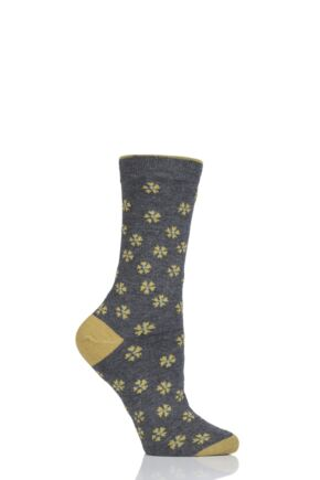 Ladies 1 Pair Thought Ditsy Floral Bamboo and Organic Cotton Socks Grey 4-7