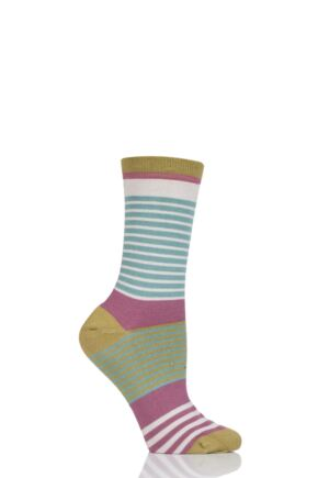 Ladies 1 Pair Thought Vevina Striped Bamboo and Organic Cotton Socks