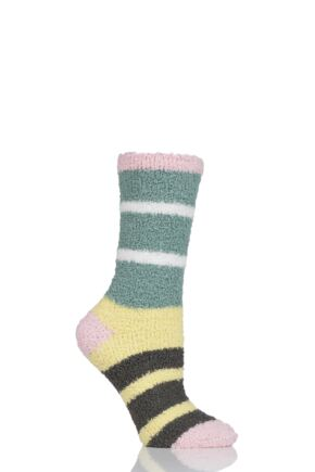 Ladies 1 Pair Thought Celia Striped Recycled PET Socks Field Green 4-7