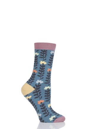 Ladies 1 Pair Thought Lore Floral Bamboo and Organic Cotton Socks