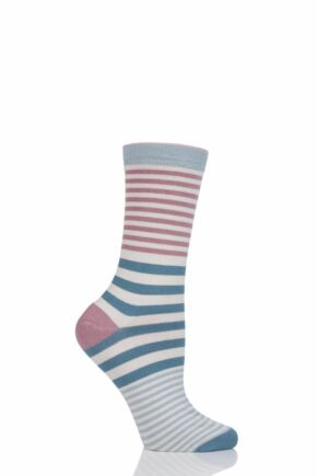 Ladies 1 Pair Thought Janet Stripe Bamboo and Organic Cotton Socks