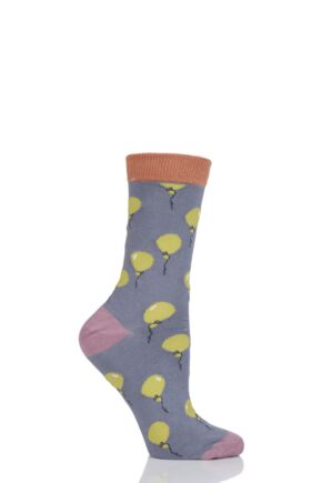 Ladies 1 Pair Thought Balloon Bamboo and Organic Cotton Socks Pebble Grey 4-7 Ladies