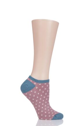 Ladies 1 Pair Thought Saffi Dots Bamboo and Organic Cotton Trainer Socks