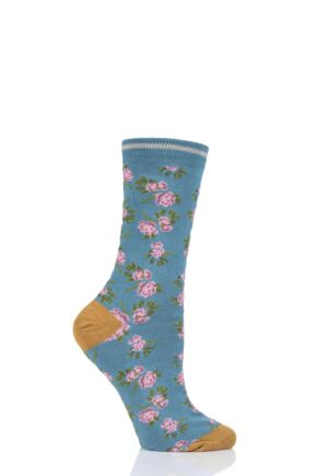 Ladies 1 Pair Thought Cottage Rose Bamboo and Organic Cotton Socks