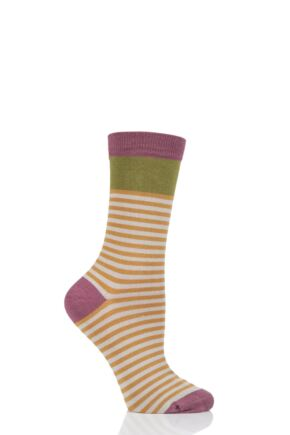 Ladies 1 Pair Thought Walla Striped Bamboo and Organic Cotton Socks Mustard 4-7 Ladies