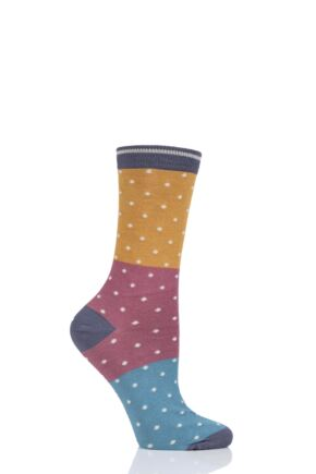 Ladies 1 Pair Thought Natacha Spots Bamboo and Organic Cotton Socks Mustard 4-7 Ladies