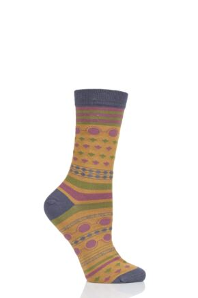 Ladies 1 Pair Thought Panvy Fair Isle Bamboo and Organic Cotton Socks