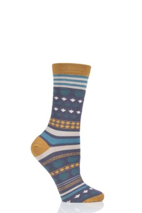 Ladies 1 Pair Thought Panvy Fair Isle Bamboo and Organic Cotton Socks Slate 4-7 Ladies