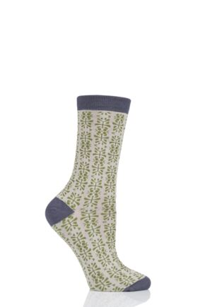 Ladies 1 Pair Thought Alara Floral Bamboo and Organic Cotton Socks Olive 4-7 Ladies