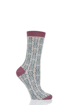 Ladies 1 Pair Thought Alara Floral Bamboo and Organic Cotton Socks