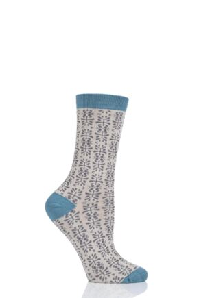 Ladies 1 Pair Thought Alara Floral Bamboo and Organic Cotton Socks