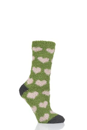 Ladies 1 Pair Thought Fluffy Heart Recycled Polyester Socks Olive 4-7 Ladies