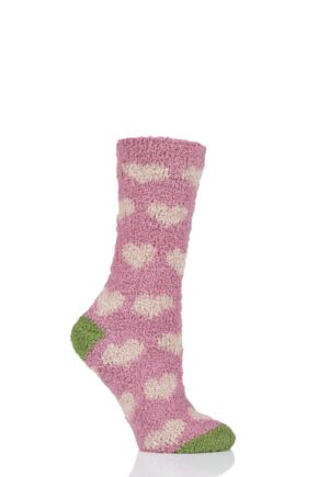 Ladies 1 Pair Thought Fluffy Heart Recycled Polyester Socks