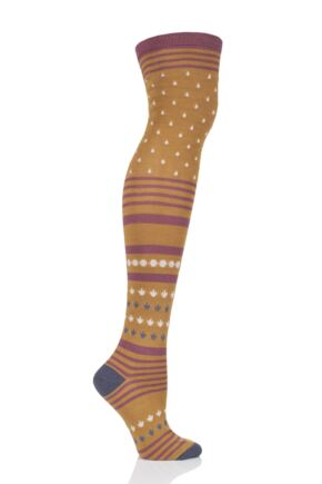 Ladies 1 Pair Thought Esana Over The Knee Bamboo and Organic Cotton Socks Mustard 4-7 Ladies