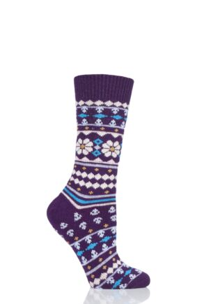 Ladies 1 Pair Thought Viktoir Wool Fair Isle Socks