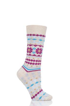Ladies 1 Pair Thought Viktoir Wool Fair Isle Socks Sand 4-7 Ladies