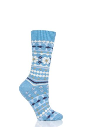 Ladies 1 Pair Thought Viktoir Wool Fair Isle Socks